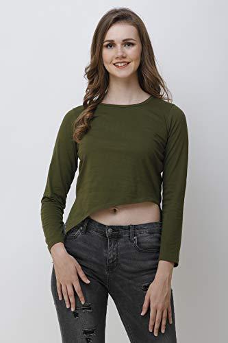 FAIRIANO Women Casual Full Sleeve Green Crop top