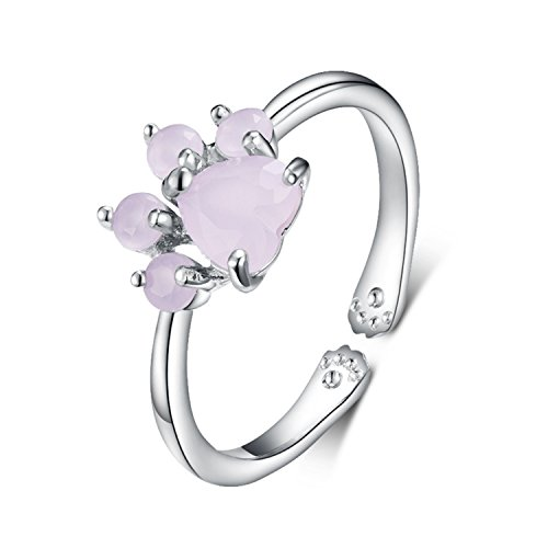 Viola Tricolor Cute Cat Paw Silver Ring Pink Cubic Zirconia Crystal Ring Open Adjustable Sparkling Jewelry Best Friendship Gifts for Women Teen - Ring Wedding Cat