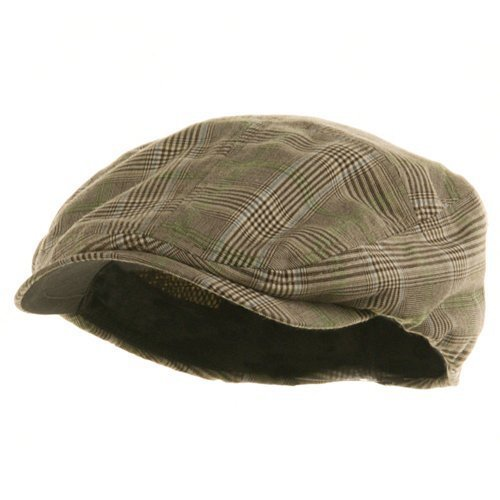 MG Men's Plaid Ivy Newsboy Cap Hat (Brown, Medium) -