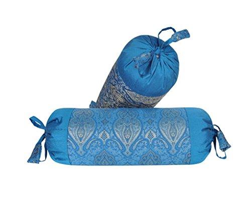 - Lalhaveli Round Designer Silk Fabric Bolster Pillow Cushion Covers Living Room Decor Set of 2 18 x 8 Inch