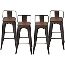 Pack of 4 Low Back Gunmetal Counter Bar Stool Indoor-Outdoor Stackable Bistro Cafe Bar Stools (30 inch, Low Back Wooden)