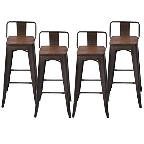 Pack of 4 Low Back Gunmetal Counter Bar Stool Indoor-Outdoor Stackable Bistro Cafe Bar Stools (30 inch, Low Back Wooden) - 30 Back Bar