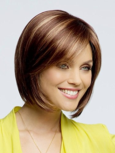 Beauty : 5I Short Straight Hair Wigs for Women Light Brown and Light Blonde Synthetic Heat Resistant Wig Natural Looking Wig with Wig Cap Z053