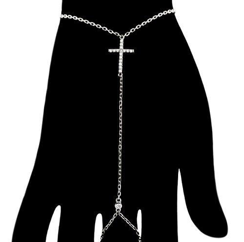 Cubic Zirconia Cross Slave Bracelet Rhodium Plated 925 Sterling Silver 6