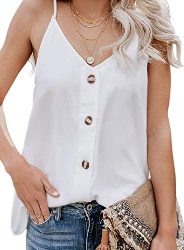 (jonivey Women's Tank Top T-Shirt V Neck Front Tie Knot Button Up Casual Sleeveless Shirt (White,L))