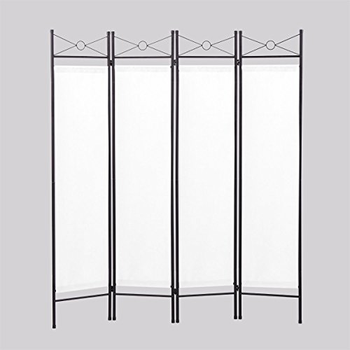 LAZYMOON 4-Panel Steel Room Divider Screen Fabric Folding Partition Home Office Privacy Screen, White from LAZYMOON