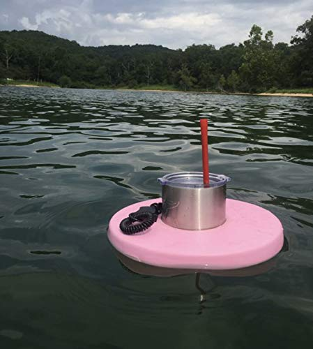Drink Dinghy - Hands Free Floating Drink Holder -- Lakes, Pools, and Rivers (Blue) (Pink, Single Drink Dinghy)