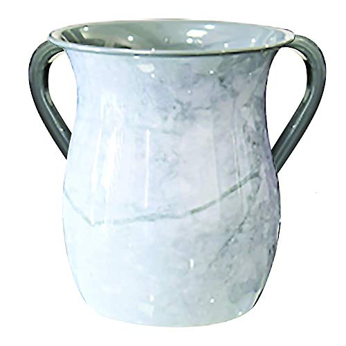 Stainless Steel Netilat Yadayim Cup - Gentle Marble Painted Design - Looks Like Ceramic - Rust, Break and Crack Proof Negel Vasser Cup - Judaica Gift Collection by The Kosher - Wash Cup Ceramic