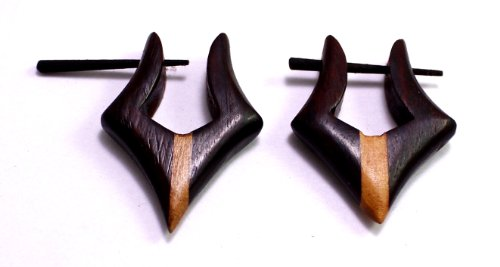 [A Pair of Brown Black Strap Design Coco Wooden Boho Hippie Earrings Sew_243] (Tribal Costumes Of India)