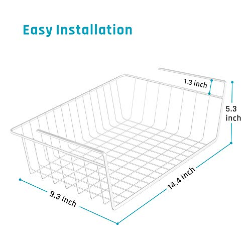 iSPECLE Under Shelf Basket, 4 Pack White Wire Rack, Slides Under Shelves for Storage, Easy to Install by iSPECLE (Image #2)