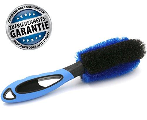 Profi Felgenbürste für Alufelgen - Stabiler Griff und dichte Borsten - inklusive Zufriedenheitsgarantie - Hochwertige Bürste zur gründlichen Reinigung von Felgen - Felgenpflege Waschbürste bzw. Reinigungsbürste zur Autopflege (Blau)