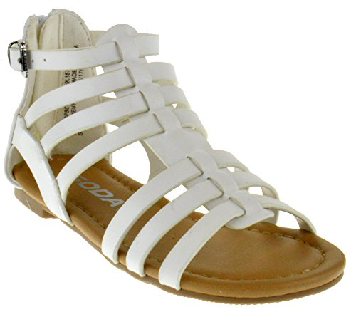 Sod Dixon 2A Little Girls Strappy Peep Toe Gladiator Sandals White PU 12 ()