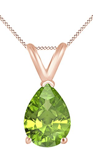 Jewel Zone US AFFY Women s Classic Simulated Gemstone Pear Shape Pendant Necklace in 10k Solid Rose Gold 5 cttw
