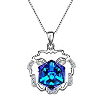 EleQueen 925 Sterling Silver Square Zodiac 12 Constellation Sign Pendant Necklace Blue Adorned with Swarovski® Crystals