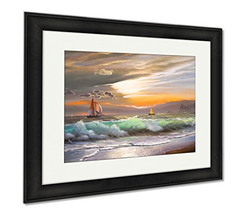 Ashley Framed Prints Oil Painting On Canvas Sailboat Against A Of Sea Sunset, Modern Room Accent Piece, Color, 34x40 (frame size), Black Frame, AG5803093 by Ashley Framed Prints