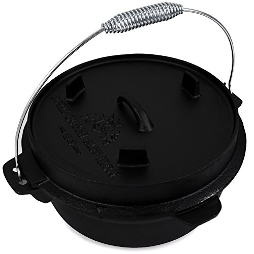 Cast Iron 8 Lt Dutch Oven for Outdoor Fireplace - Pre Seasoned 12 Inch Large Cooking Pot Cookware with Handle and Lid - Home Cook & Bake Kitchen Camping Open Fire BBQ by Royal Dutch Cast Iron 1815