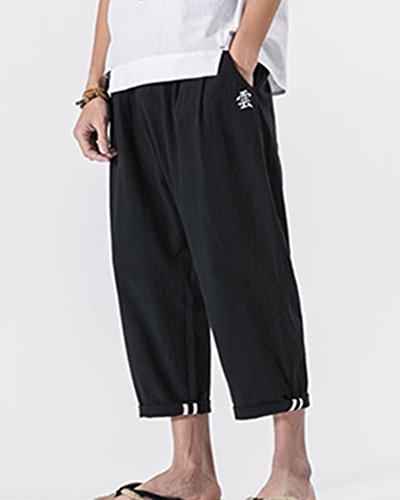 Pantalones Suelto Respirable Lino Tallas Harem Grandes Negro Hombre De Bordado  Anchos 4qrFW4nc efeeebefea0b