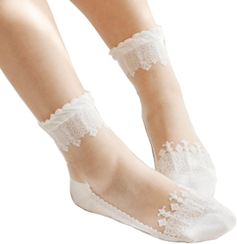 3 Pairs Women's Ultrathin Transparent Lace Elastic Short (White Lace Anklet)