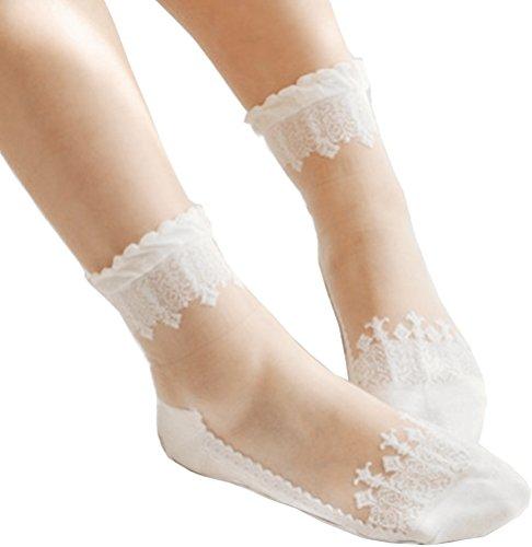 3 Pairs Women's Ultrathin Transparent Lace Elastic Short Socks,White (Anklet Sheer)