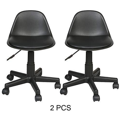 Price comparison product image UTRAHOME Desk Swivel Chair Vanity Task - Mid Back Office Stool Leather Cushioned Upholstery Armless Height Adjustable Rolling Rubber Caster Black for Home Living Room Beauty Salon Work 350lbs