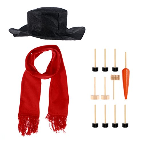 OULII Snowman Decorating Dressing Kit Winter Holiday Outdoor Toys Christmas Gift Hat Scarf Pipe Eyes Mouth Button Nose Accessories Set of 13pcs