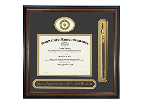Signature Announcements Florida A&M University (FAMU) Undergraduate and Graduate Graduation Diploma Frame with Sculpted Foil Seal, Name & Tassel (Matte Mahogany, 16 x 16)