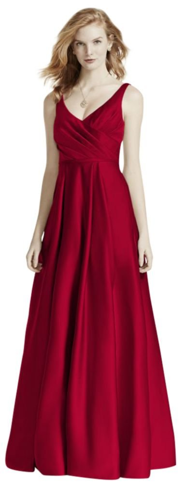 David's Bridal Satin Tank Long Ball Gown Bridesmaid Dress Style F15741, Apple, 16 by David's Bridal