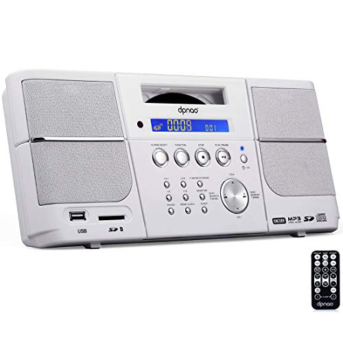 DPNAO Portable CD Player Boombox with FM Radio Headphones Jack (White) (Alarm Clock For Kids Cd Player)