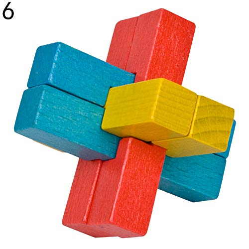 Yinpinxinmao Classic Wooden Puzzle Brain Tester IQ Test Game Kids Adults Educational Toy 6# (Iq Test For 10 Year Old Child)