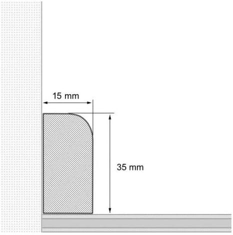 30 lfm Sockelleiste Echtholz 35 x 15mm mit abgerundeter Vorderkante lackiert