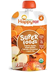Happy Family - USDA Organic Stage 4 Baby Food Contains Apples Sweet Potatoes Carrots Cinnamon Super Chia Resealable Pouch Non GMO Gluten Free - 120g