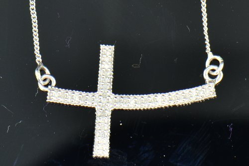 .925 Sterling Silver White Diamond Sideways Cross Charm Pendant Necklace .15 Cttw