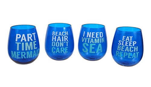 Set of 4 Acrylic Beach Sayings Stemless Wine Glasses, 16 oz.