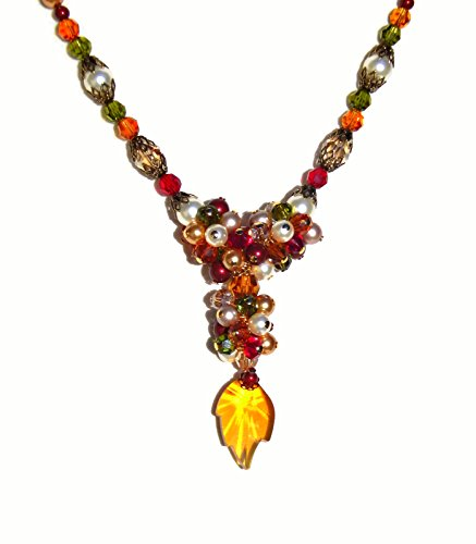 Swarovski Crystal Leaf Pendant Necklace in Fall Colors