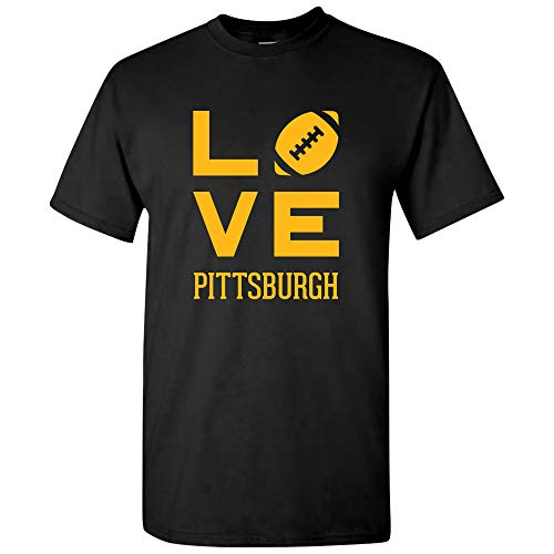 Pittsburgh Love Football - Sports Team City Pride Tailgating T Shirt - 3X-Large - Black -