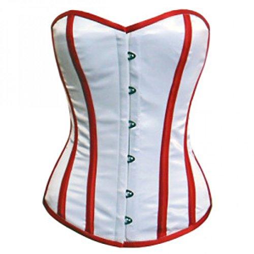 不機嫌そうなフィード寺院White Satin Red Stripes Retro Burlesque Waist Cincher Basque Overbust Corset Top