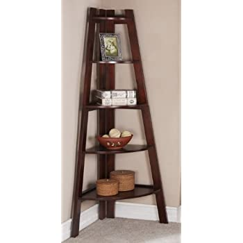 Walnut Finish 5 Tier Corner Display Unit Shelf / Rack F04038