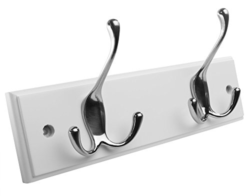 41GXb60qblL - Hookiom 629W Wall Mounted hook Coat Rack / Coat and Hat Rail with 2 Tri Hooks, White Finish and Satin Nickel Hooks