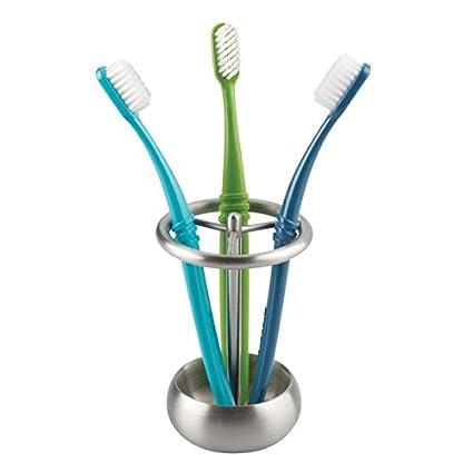 mDesign Accesorios para el baño - Porta cepillo de dientes en acero inoxidable - Ideal como