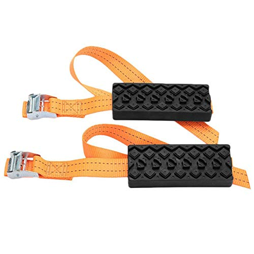 ASSR 2PCS Universal Rubber Nylon Car Snow Chains, Winter Anti-Skid Snow Mud Chain Saloon Car Tire Adjustable Emergency Anti Skid Strap Removal for Car SUV Truck Winter Driving