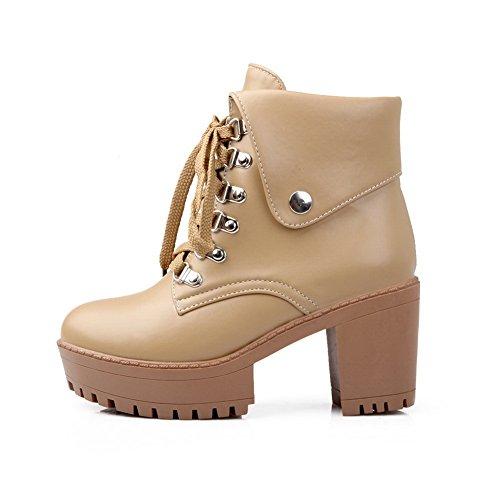 AdeeSu Womens European Style Wheeled Heel Shoes Fashion Cone-Shape Heel Imitated Leather Boots apricot Ir6O0BQE