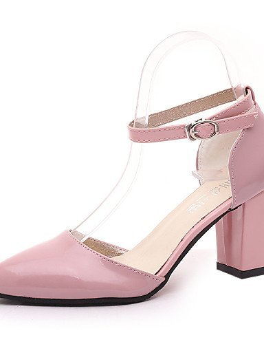 ShangYi Womens Shoes Leatherette Chunky Heel Heels / Pointed Toe Heels Office & Career / Casual Pink / White / Beige Pink