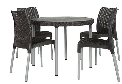 Keter Jersey 4 Seater Rattan Outdoor Garden Furniture Dining Set - Graphite