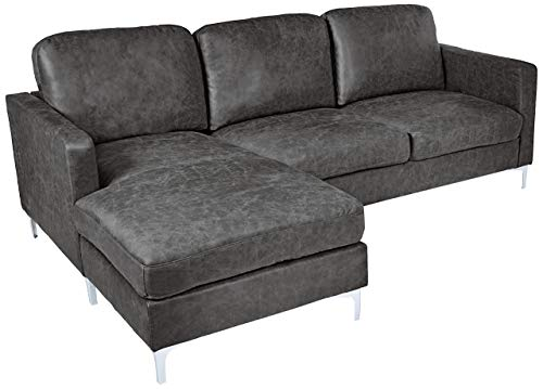 Homelegance Breaux Modern Track Arm Sectional with Chaise and Chrome Legs Accents, Gray