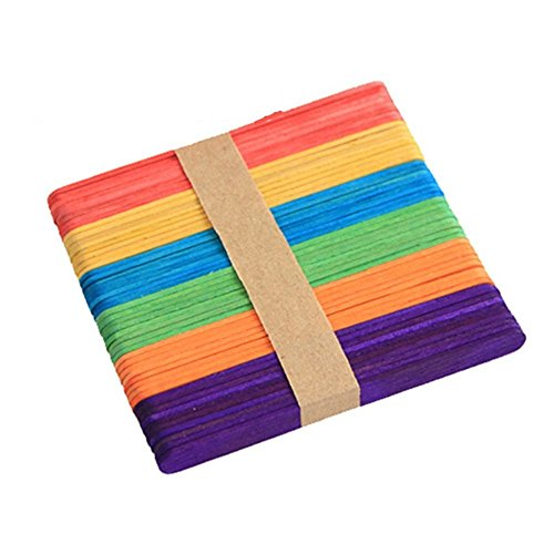 VEIREN 200 Pcs Ice Cream Sticks, Wooden Popsicle stick, 4.3x 4 Inch Kids Hand Crafts Art(Colorful)