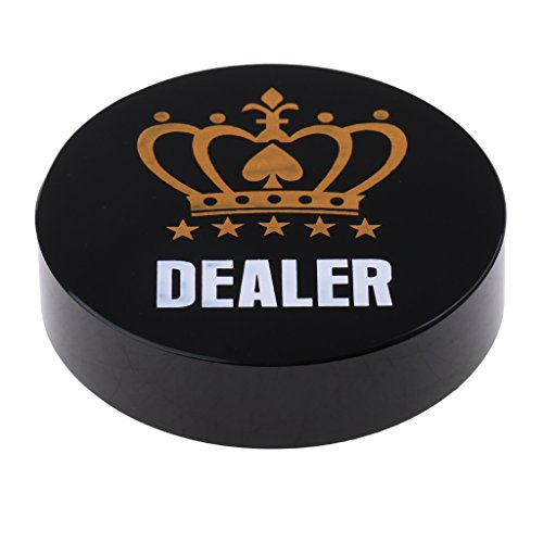 Button Dealer Guard Card - SunniMix 1x Acrylic Round Dealer Button Chip Pressing Texas Hold'em Poker Guard Coin Black