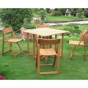 - JumpingLight Royal Tahiti 5 Piece Wood Patio Dining Set Durable and Ideal for Patio and Backyard