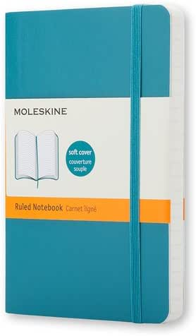 "Moleskine Classic Notebook, Soft Cover, Pocket (3.5"" x 5.5"") Ruled/Lined, Underwater Blue, 192 Pages"