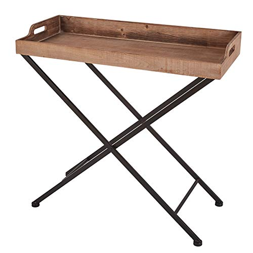 RiteSune Convertible Tray Table with Removable Vintage Natural Wooden Tray Top and Black Metal Base Tall End Table