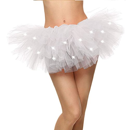 White Tutu Women's LED Light Up Neon Tulle Tutu Skirt for Cosplay Costume, White